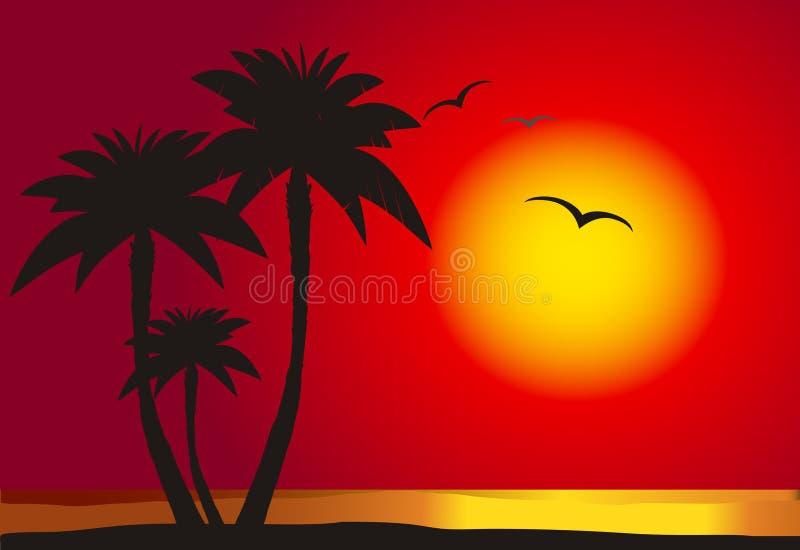 海滩日落 向量例证