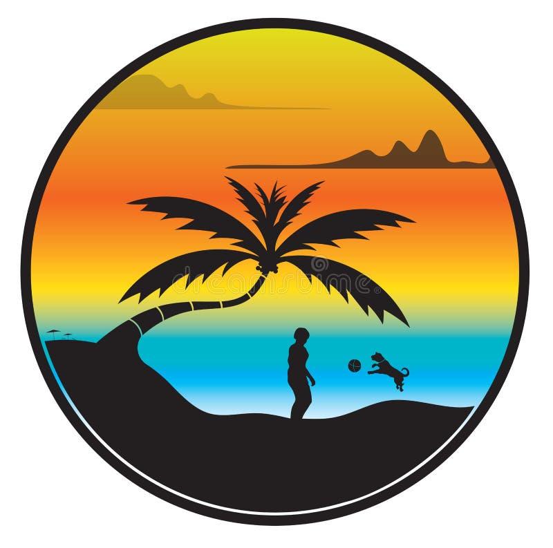 海滩日落 皇族释放例证