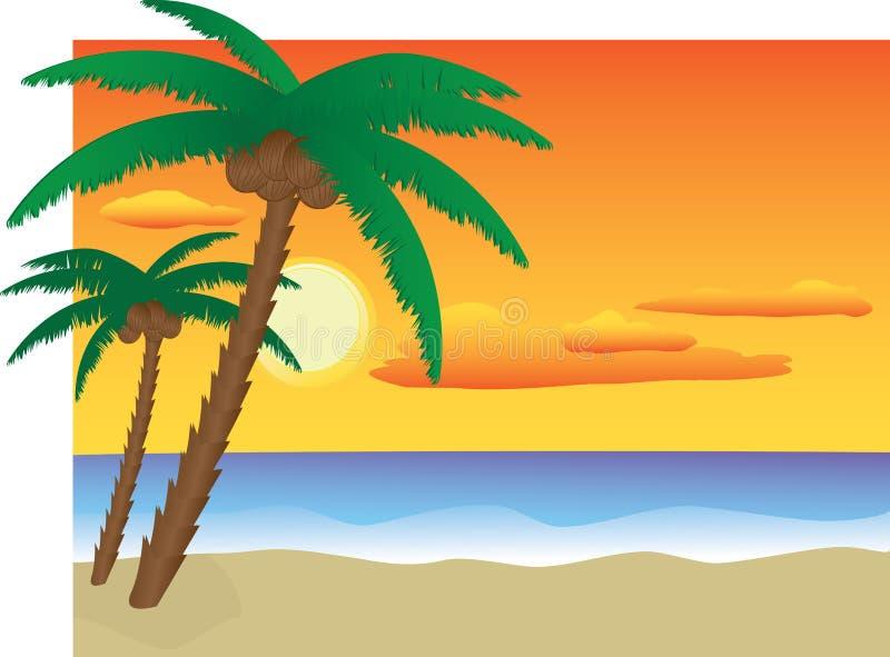 海滩日落 库存例证