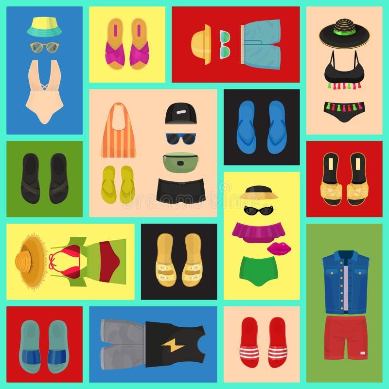 海滩时尚无缝的样式传染媒介例证 夏天妇女s和人s成套装备 时尚海滩衣裳和 库存例证