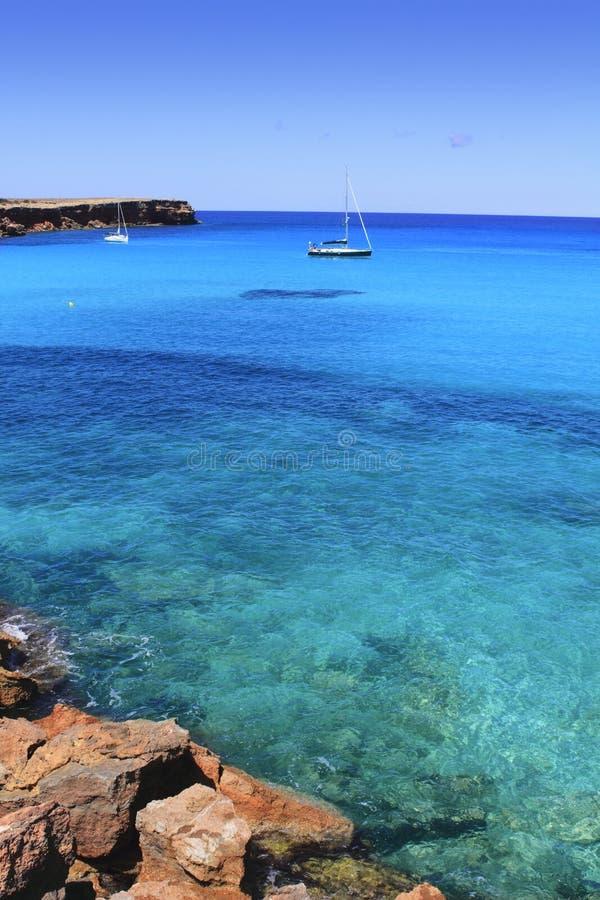 海滩最佳的cala formentera地中海saona 免版税库存图片