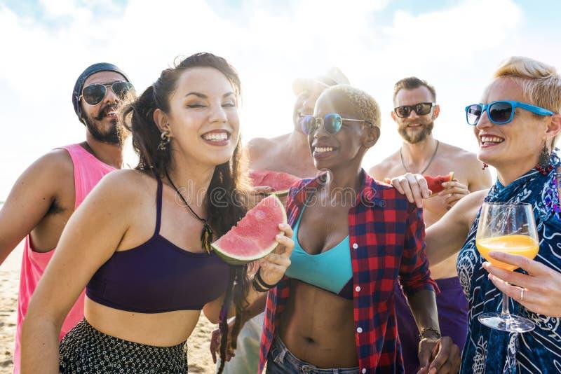 海滩有朋友的乐趣 免版税图库摄影