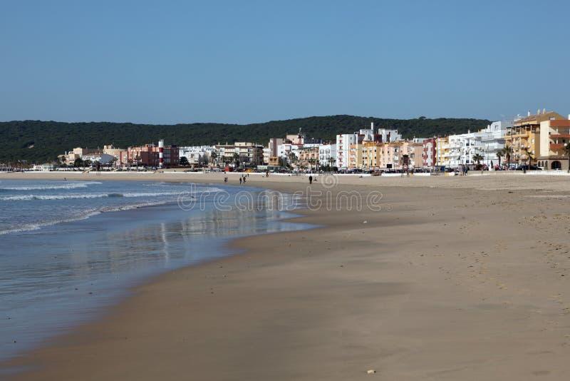 海滩有须,卡迪士,西班牙省  库存图片