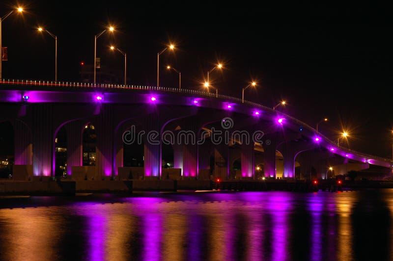 海滩桥梁迈阿密晚上南对视图 库存图片