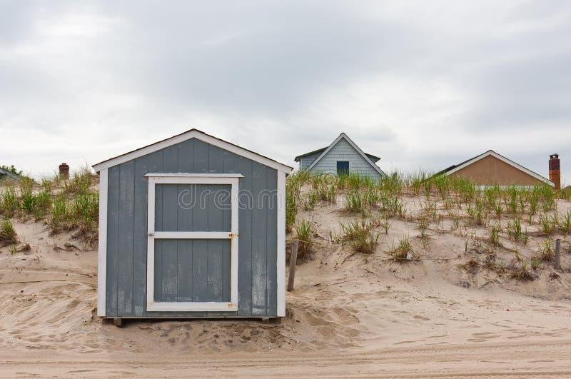 海滩棚子存贮 免版税图库摄影