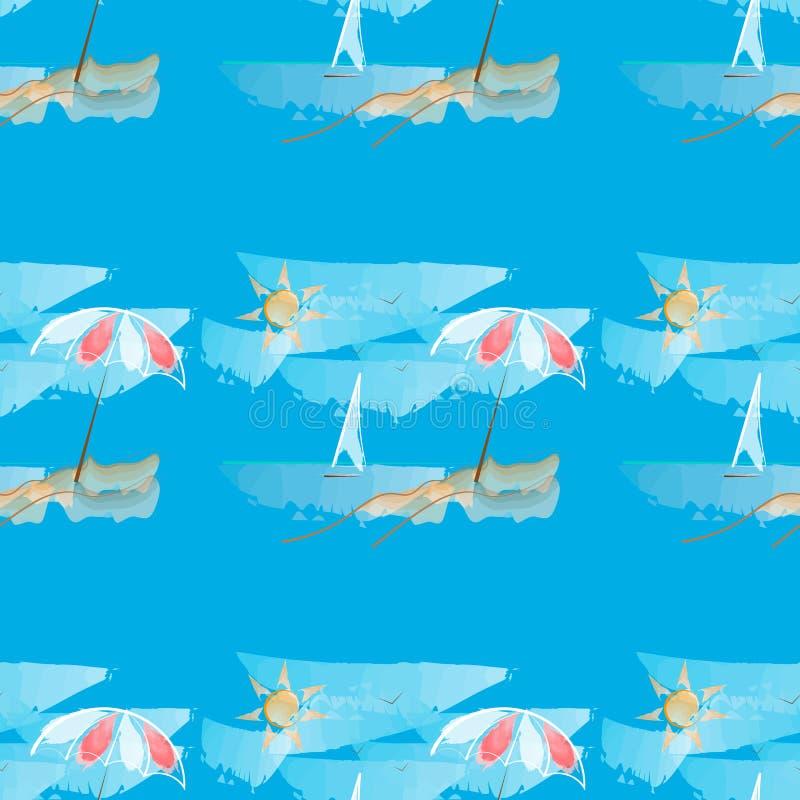 海滩概念节假日伞 在蓝色背景的传染媒介无缝的样式 皇族释放例证