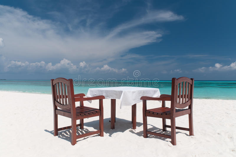 海滩正餐 免版税库存照片