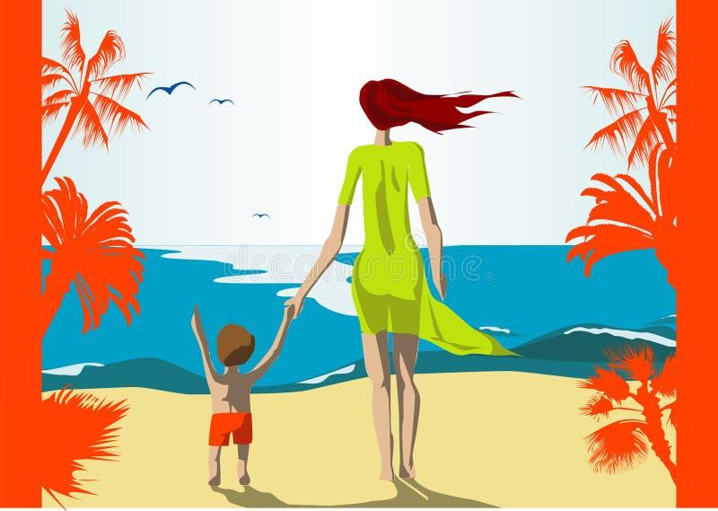 海滩母亲儿子 免版税库存图片