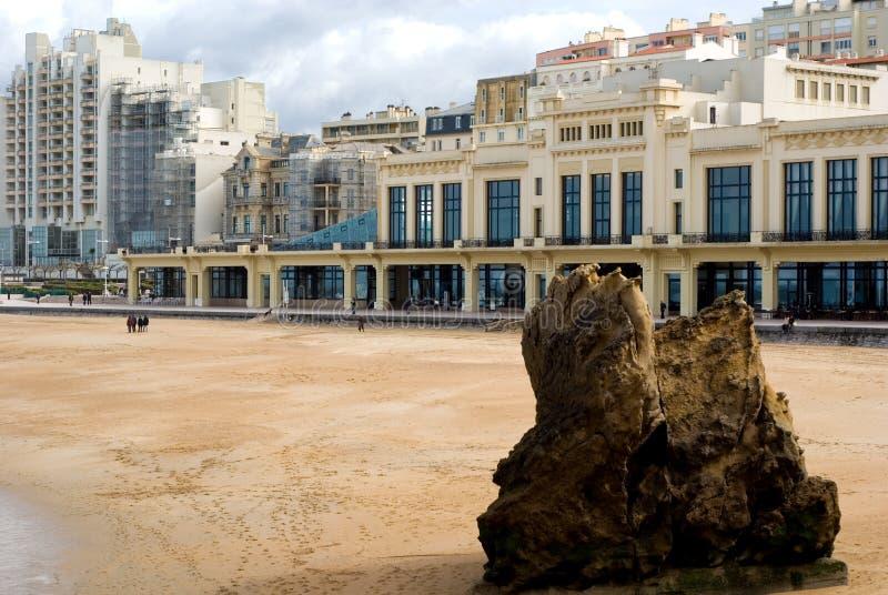 海滩比亚利兹e fran视图 免版税库存图片