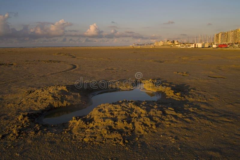 海滩比利时knokke 免版税库存照片