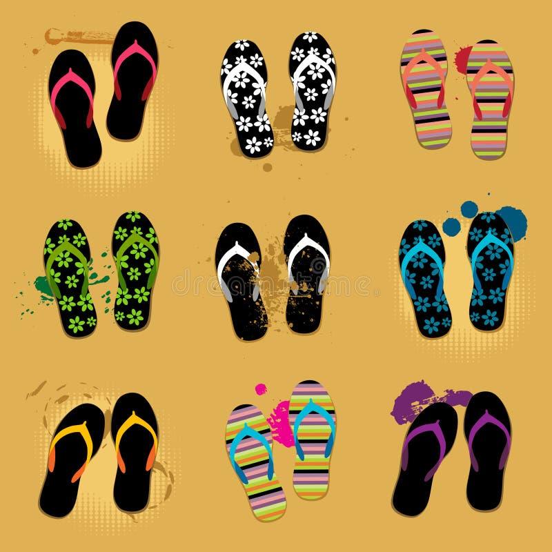 海滩沙子凉鞋 库存例证