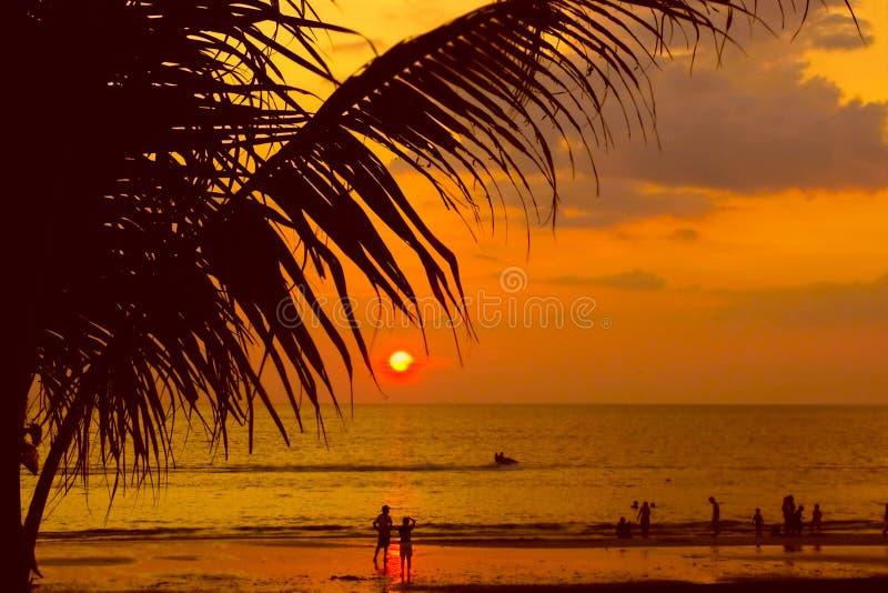 海滩沙子日落 免版税库存图片