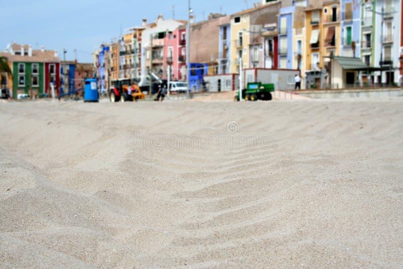 海滩沙子villajoyosa 免版税图库摄影