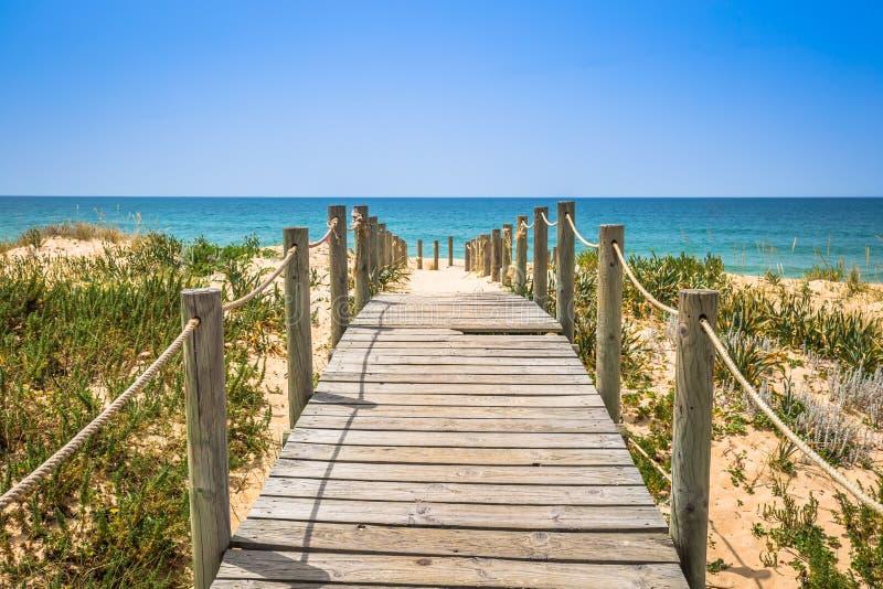 海滩法鲁,阿尔加威,葡萄牙 库存照片
