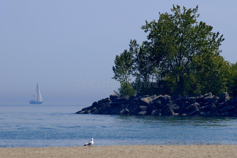 海滩海岸线风船 免版税图库摄影