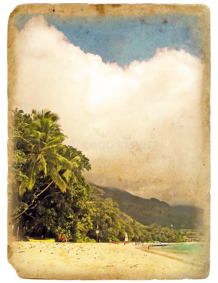 海滩海洋老明信片岸 向量例证