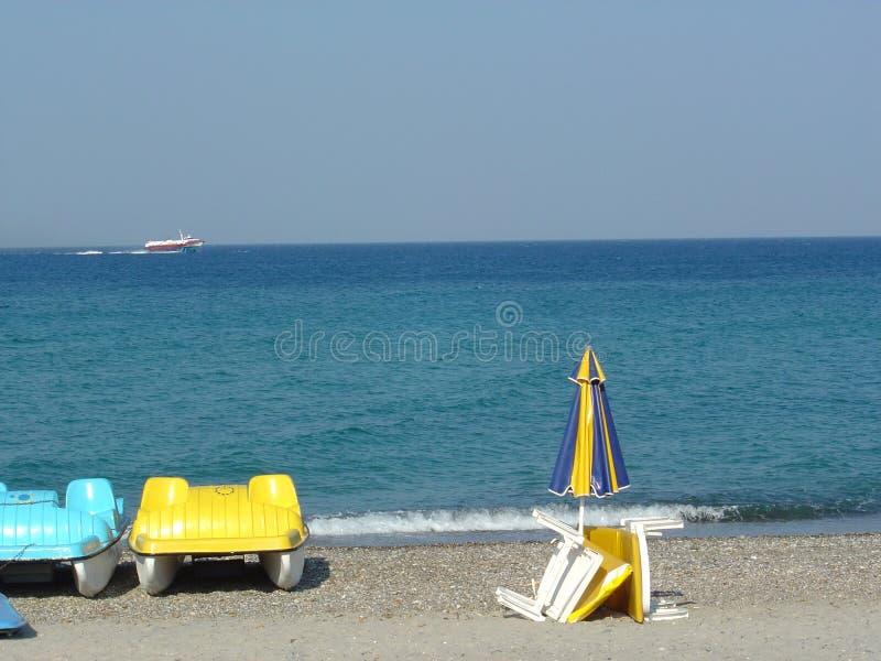 海滩海运视图 库存图片