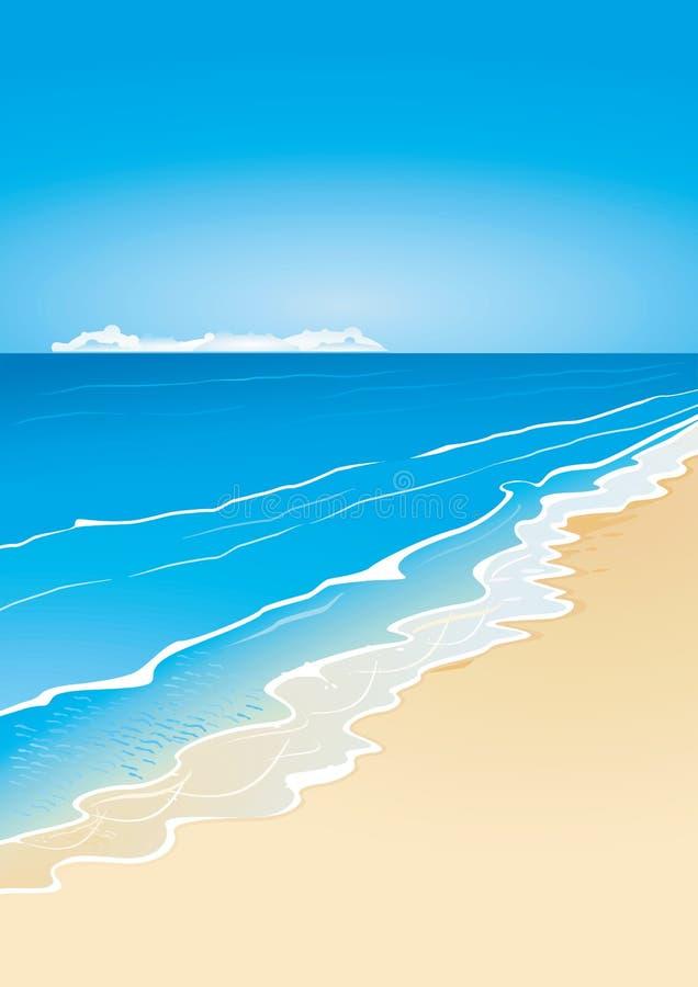 海滩海运 向量例证
