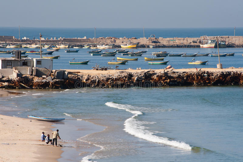 海滩渔夫加沙 免版税库存图片