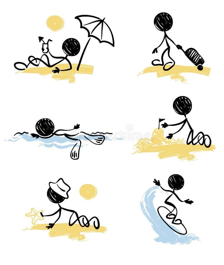 海滩滑稽的矮小的人设置了 库存例证