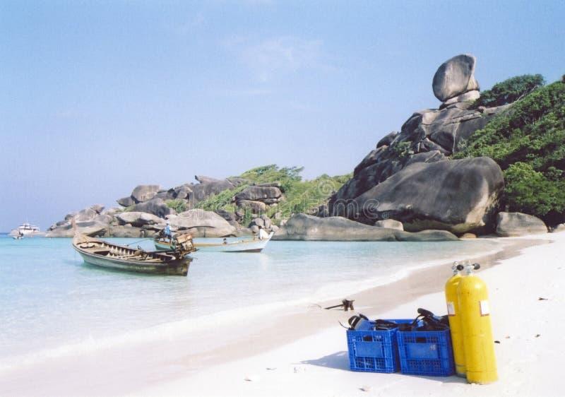 海滩潜水similian海岛的水肺 免版税库存图片