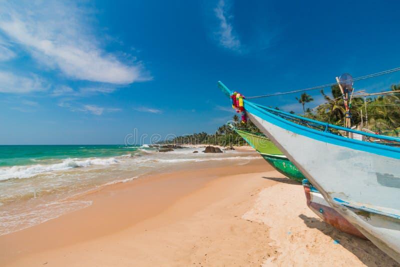 海滩热带未触动过 热带假期在斯里兰卡 免版税库存图片