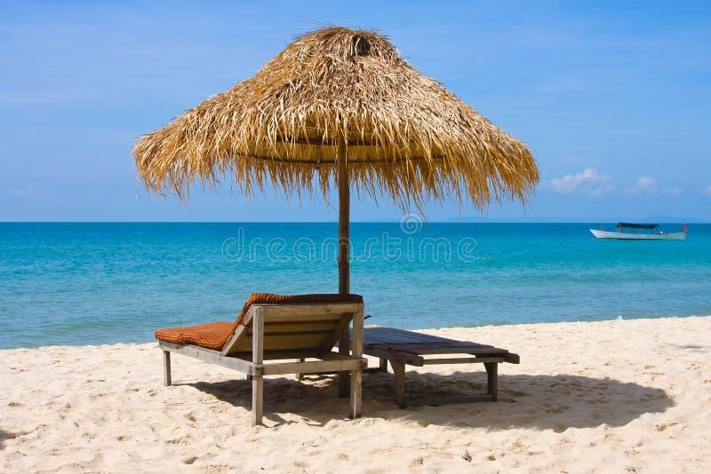 海滩热带的柬埔寨 免版税库存照片