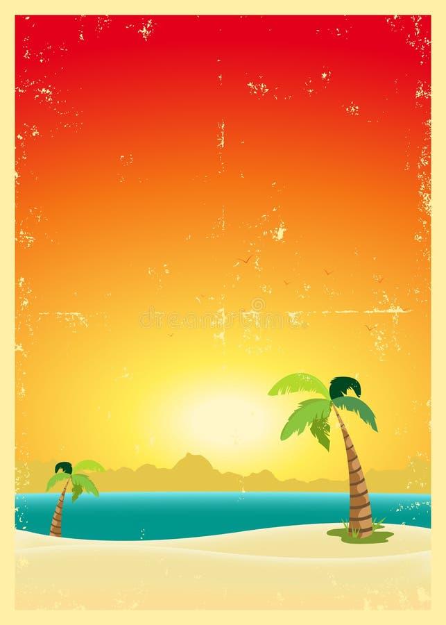 海滩热带grunge的明信片 皇族释放例证