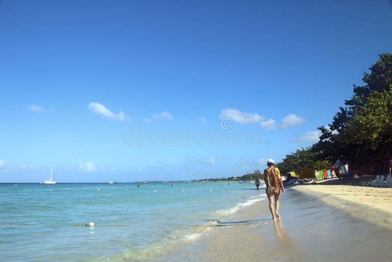 海滩牙买加长的negril 免版税库存照片