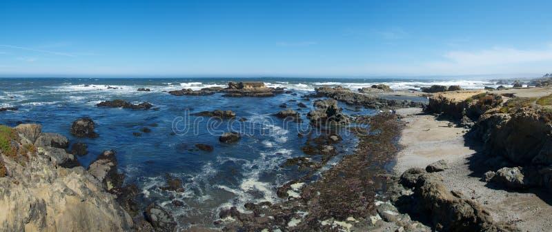 海滩玻璃全景 库存照片