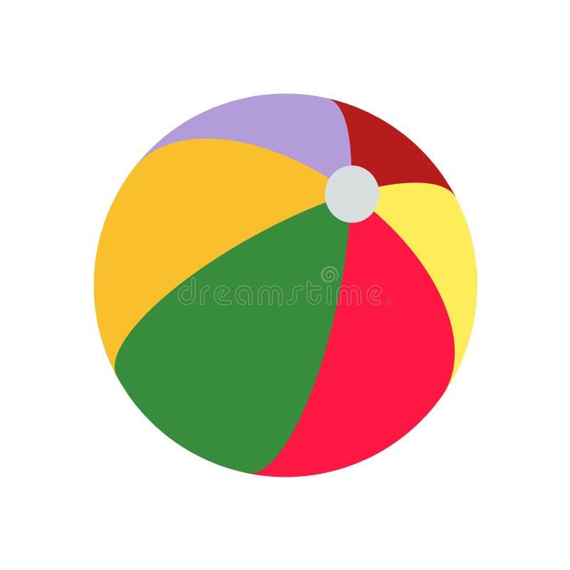 海滩球象在白色背景和标志隔绝的传染媒介标志,海滩球商标概念 皇族释放例证