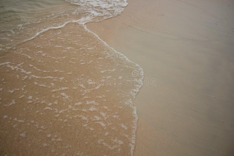 海滩由在葡萄酒样式的波浪舔了 免版税库存图片