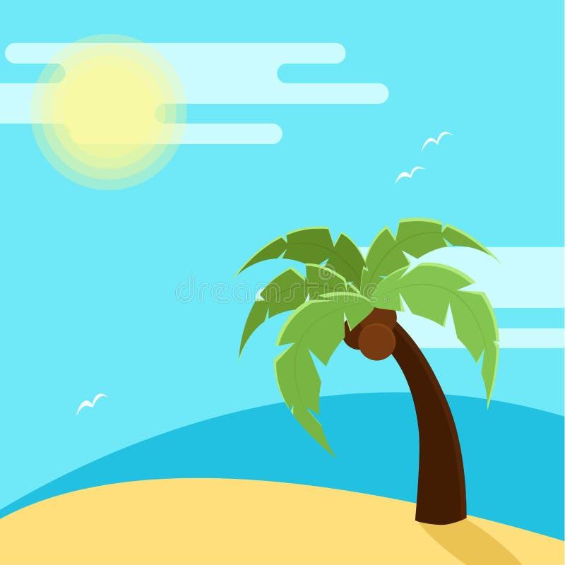 海滩的传染媒介例证与棕榈树的 库存例证