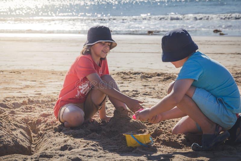海滩的兄弟 免版税库存图片