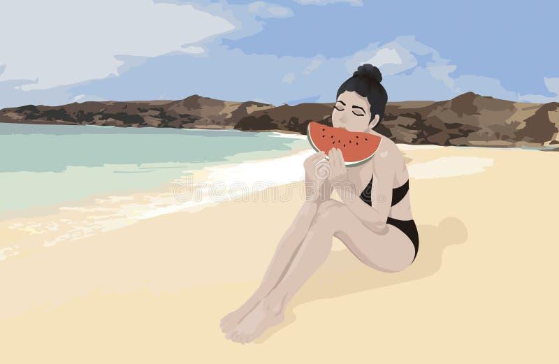 海滩的女孩在一个夏日吃一个新鲜的西瓜的 向量例证