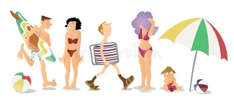 海滩的年轻人 向量例证