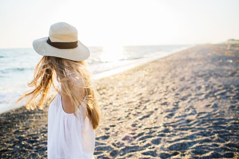海滩的年轻可爱的长发女孩 库存照片
