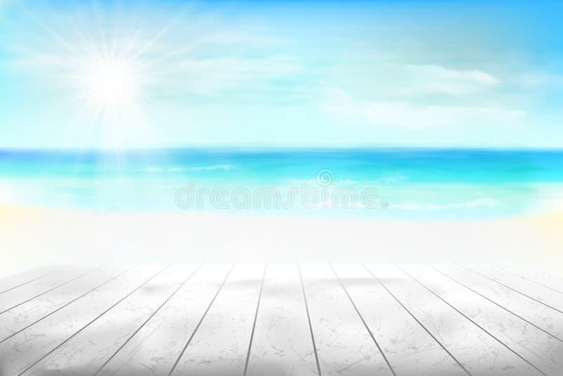 海滩的抽象看法 也corel凹道例证向量 向量例证