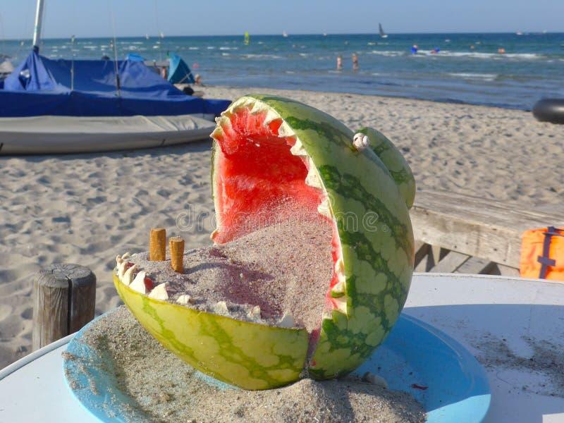 海滩的环境友好,滑稽的烟灰缸,做由一个被挖空的西瓜和充满沙子 库存照片
