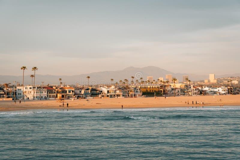 海滩的看法从码头的在新港海滨,橙县,加利福尼亚 免版税库存图片