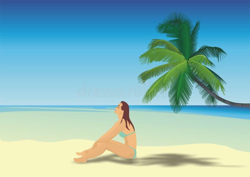 海滩的美丽的女孩 免版税库存图片