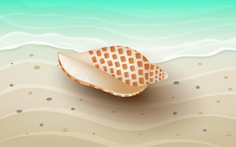 海滩的风景 皇族释放例证