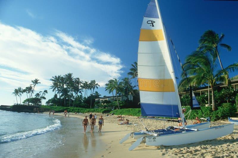 海滩的风船和游人在夏威夷 免版税库存图片