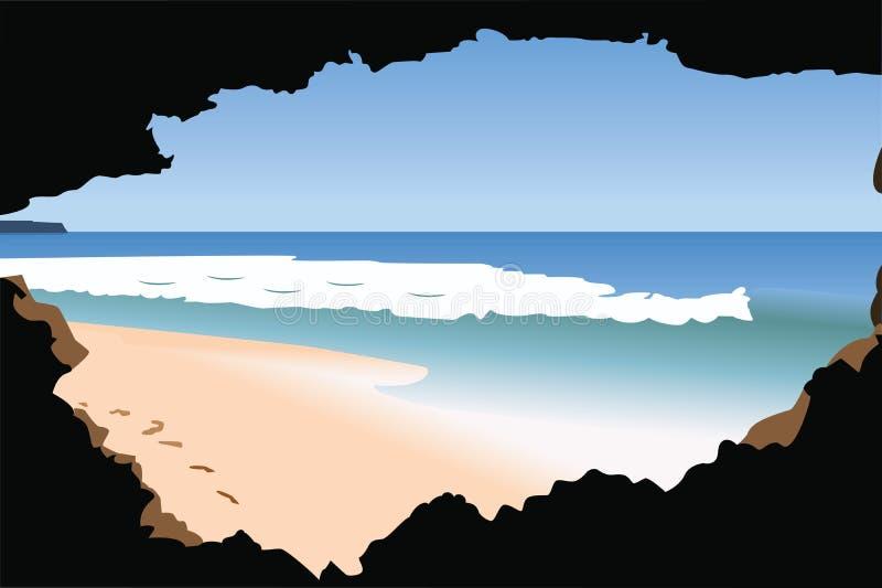 海滩看见 向量例证