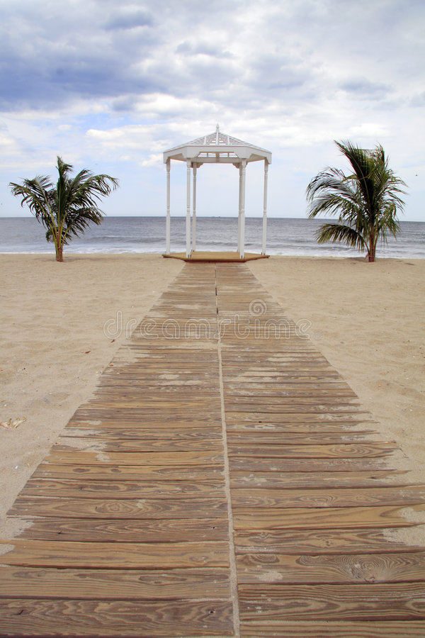 海滩眺望台 免版税库存照片