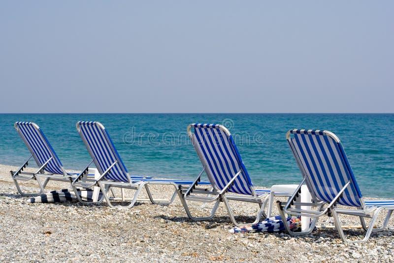 海滩睡椅四 免版税库存图片
