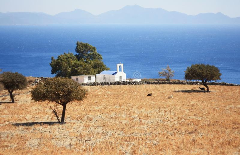 海滩睡椅希腊海岛kefalos kos桔子伞 免版税库存图片