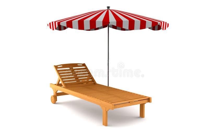 海滩睡椅查出的伞空白木 皇族释放例证