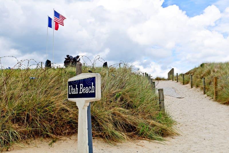 海滩纪念雕象犹他 免版税库存图片