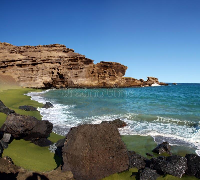 海滩绿色沙子 图库摄影